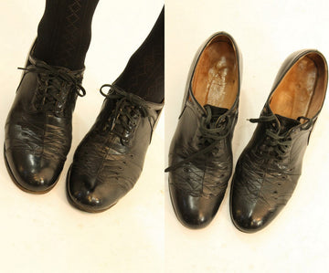 1930s oxfords leather shoes | kerrybrooke vintage lace up pumps | size 6 us