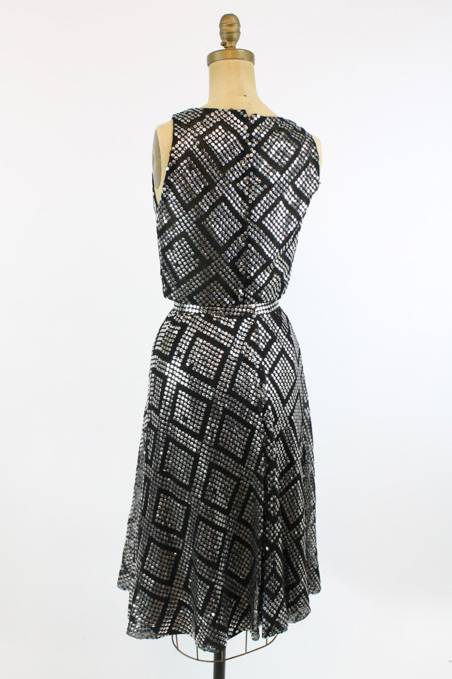 1960s sequin dress pailettes | 1960s studded draped top and skirt set | xs