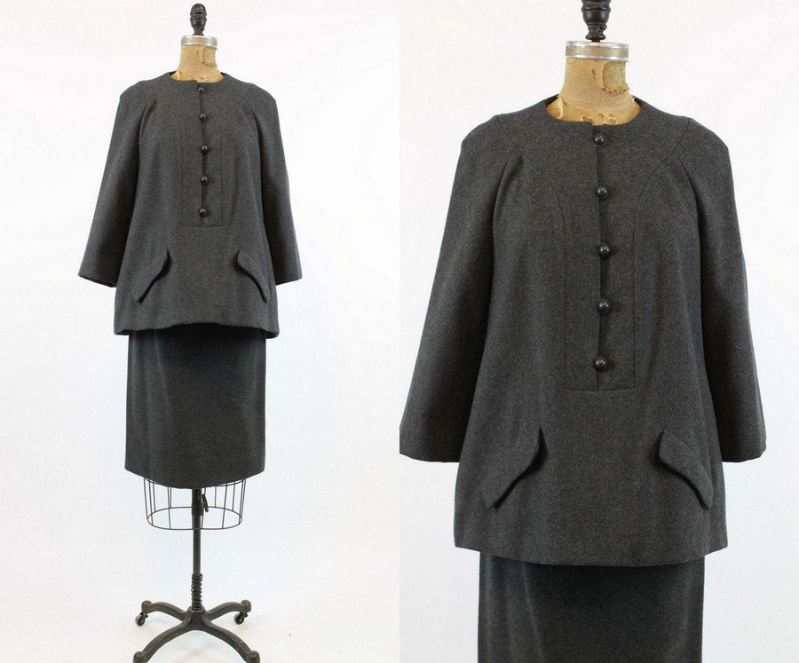 1960s Geoffrey Beene suit xs | trapeze tunic top and pencil skirt