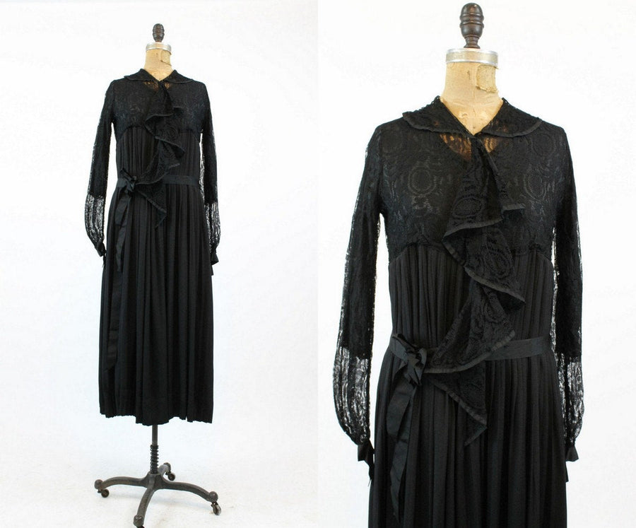 1920s spiderweb lace dress small | antique vintage ruffled collar dress | new in