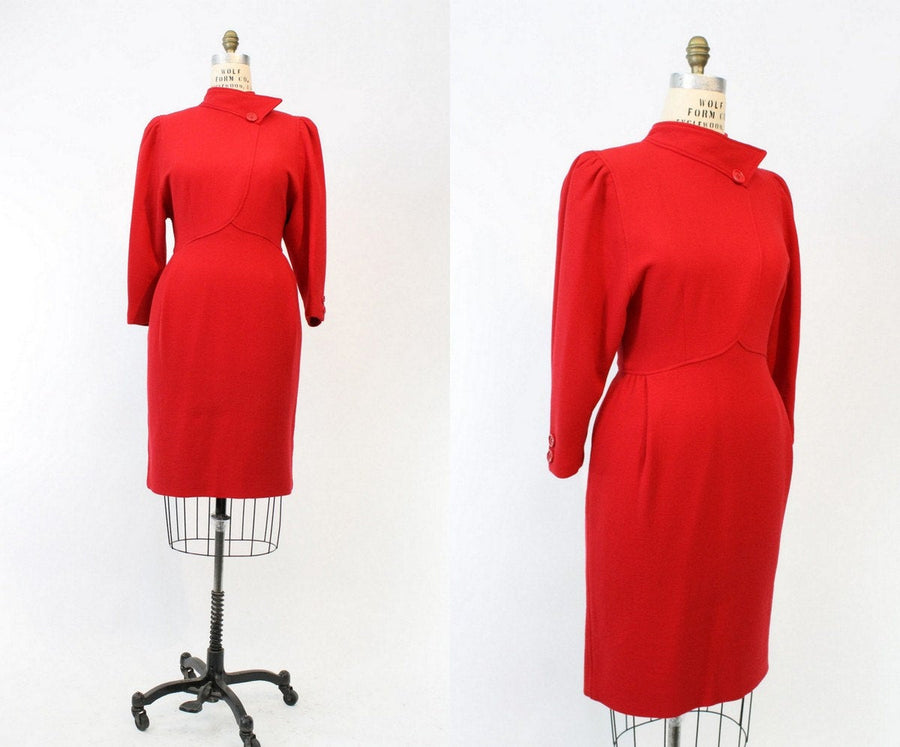 1980s Oscar de la Renta dress | vintage red wool designer dress |  medium