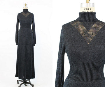 1970s lurex knit maxi dress small medium | vintage body con dress