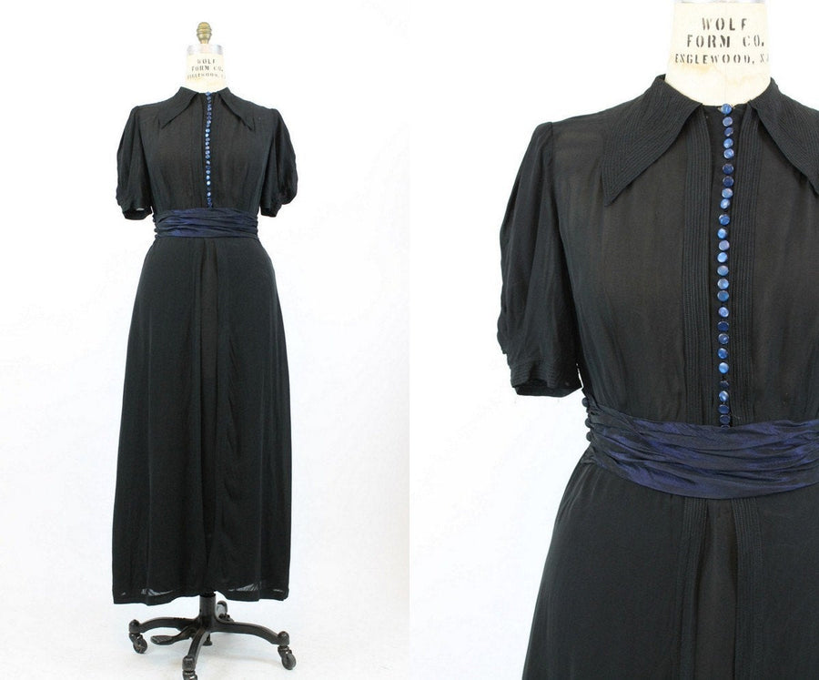 1930s silk gown medium large | vintage 30s dress