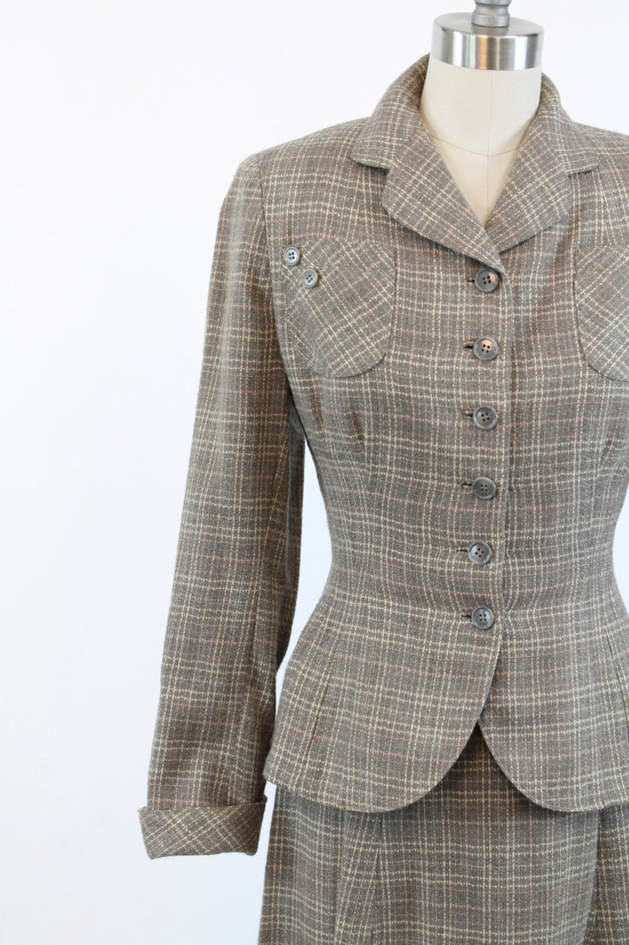 1950s plaid wool suit xs | vintage peplum jacket and skirt