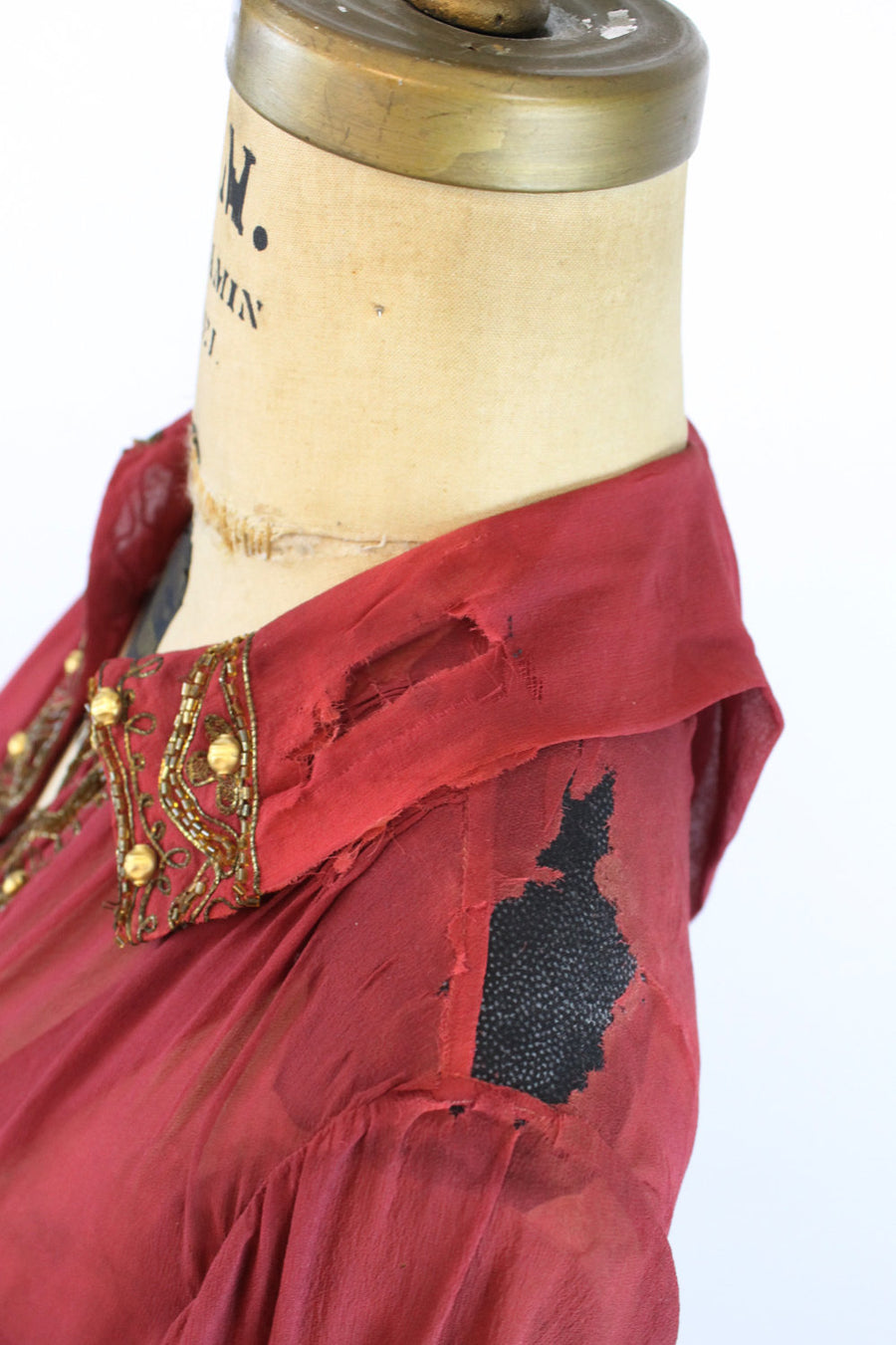 1920s gold bullion dress | silk velvet studded flapper | xs small