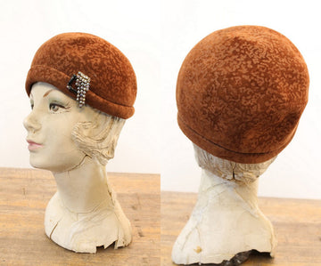 1960s does 1920 cloche | burnout wool hat