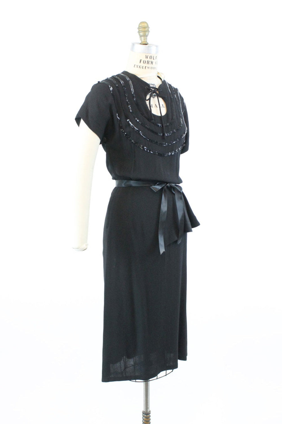 1940s sequins and rayon dress small | vintage keyhole opening tie dress | new in