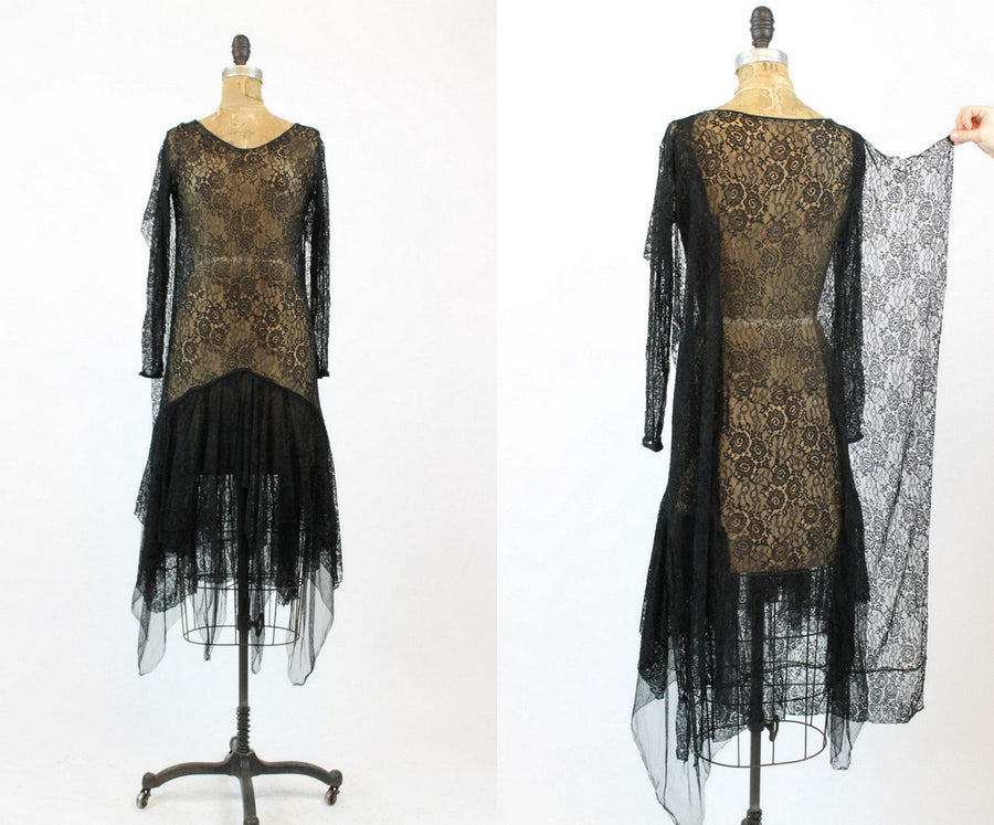 1920s lace spiderweb dress xs | antique handkerchief dress | new in