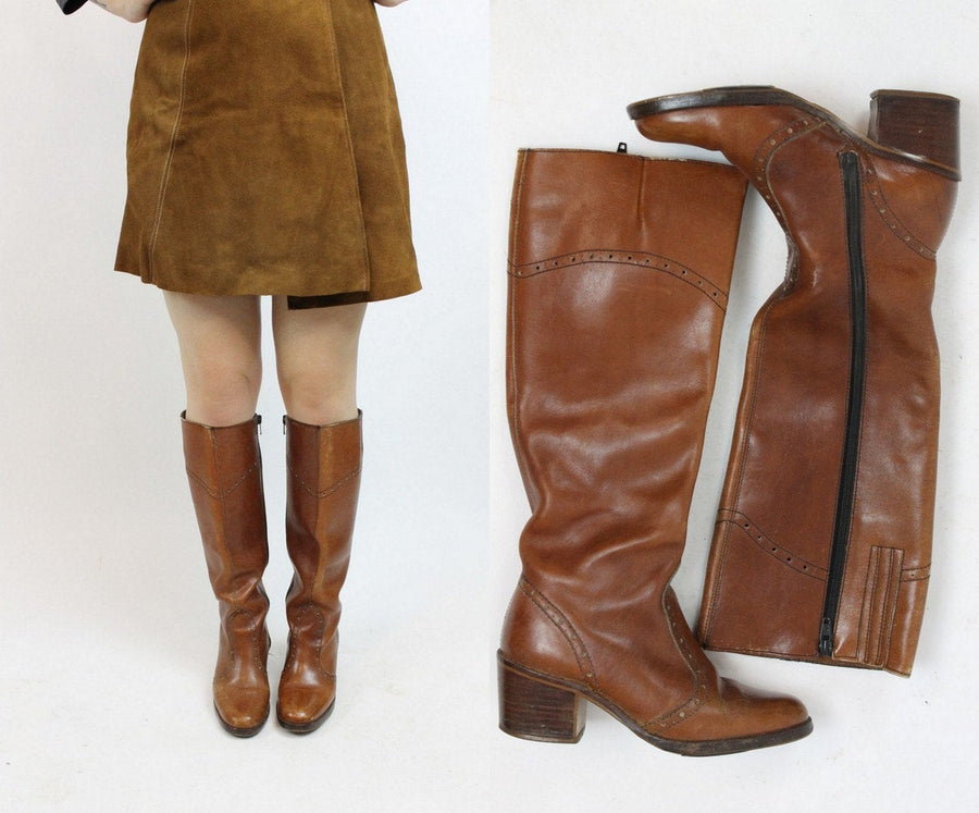 1970s leather boots | knee high boots | size 5.5 us