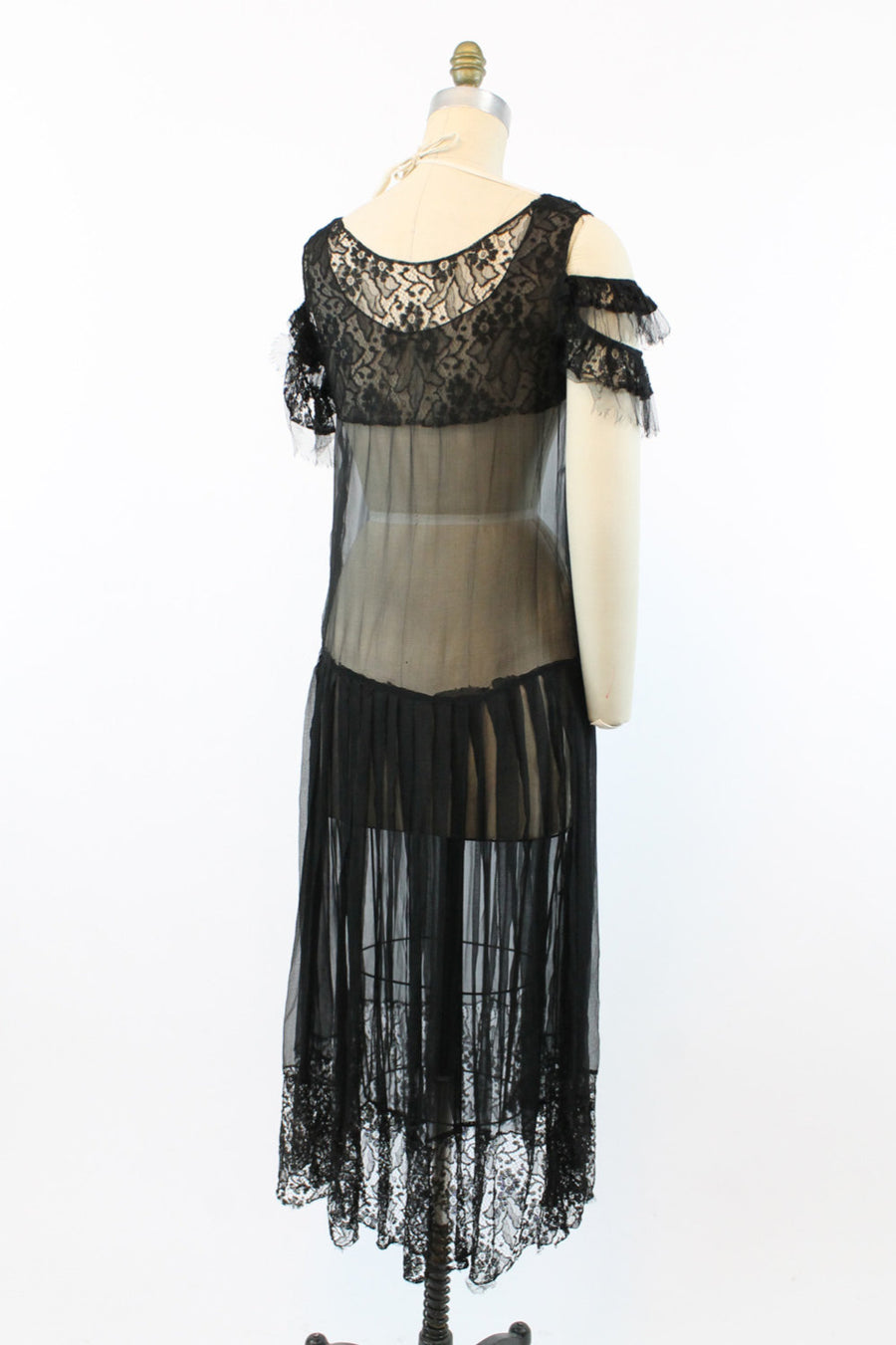 1930s lace dress | sheer off the shoulder | small - medium