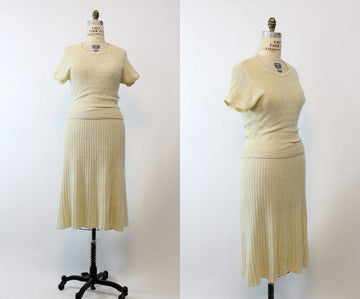 1950s Kimberly knit set  | skirt and top vintage wool dress | medium - large