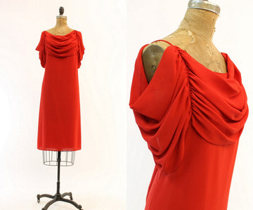 1980s Pierre Cardin dress small | vintage draped cut out shoulders | new in