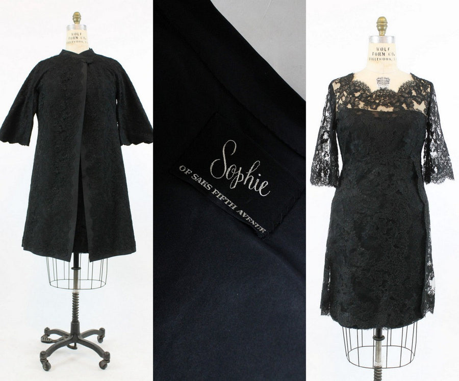 1960s Sophie of Saks Fifth Avenue two piece set large | vintage lace dress and matching coat