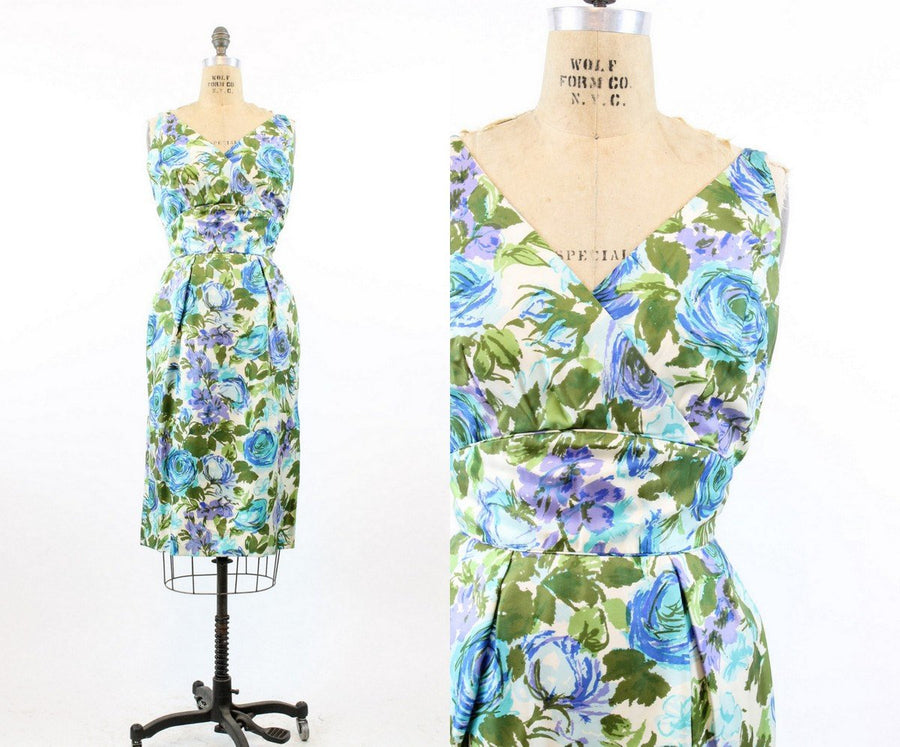 1950s silk floral print dress | vintage Tabak of California wiggle dress  | xs