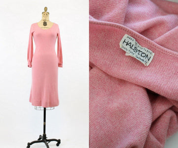 1970s  Halston cashmere dress | vintage designer sweater dress | xs small