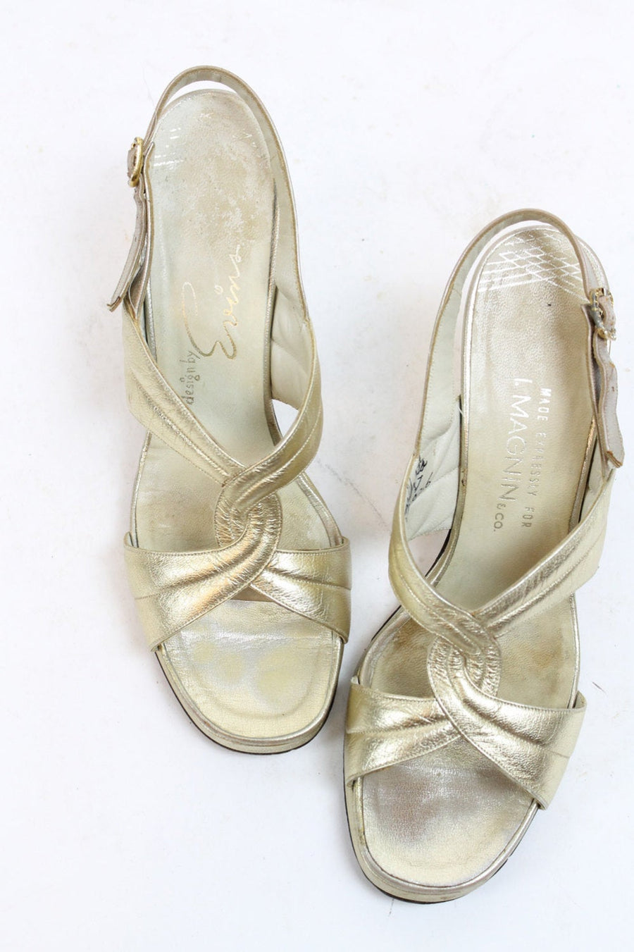 1960s gold sandals size 7.5 us | vintage I Magnin twisted shoes