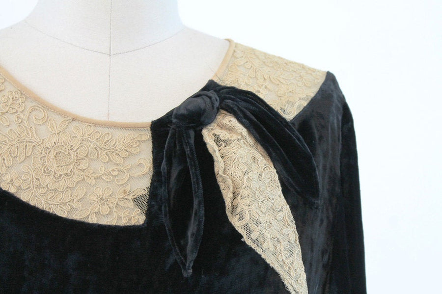 1920s silk velvet dress | vintage lace flapper | xs - small