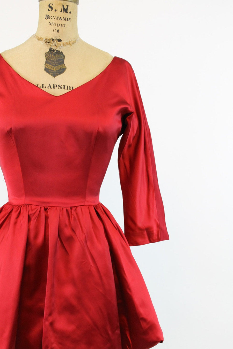 1950s red satin dress | vintage peplum dress | xs