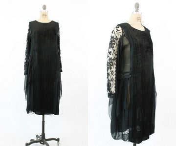 1920s devore velvet dress medium large | antique silk lace flapper dress