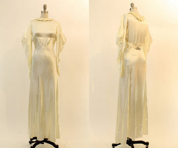 30s Wedding Dress Liquid Satin XS / 1930s Wedding Gown Bias Cut / The Josephina Gown
