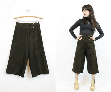 1970s leather gauchos culottes pants xs | vintage wide leg pants