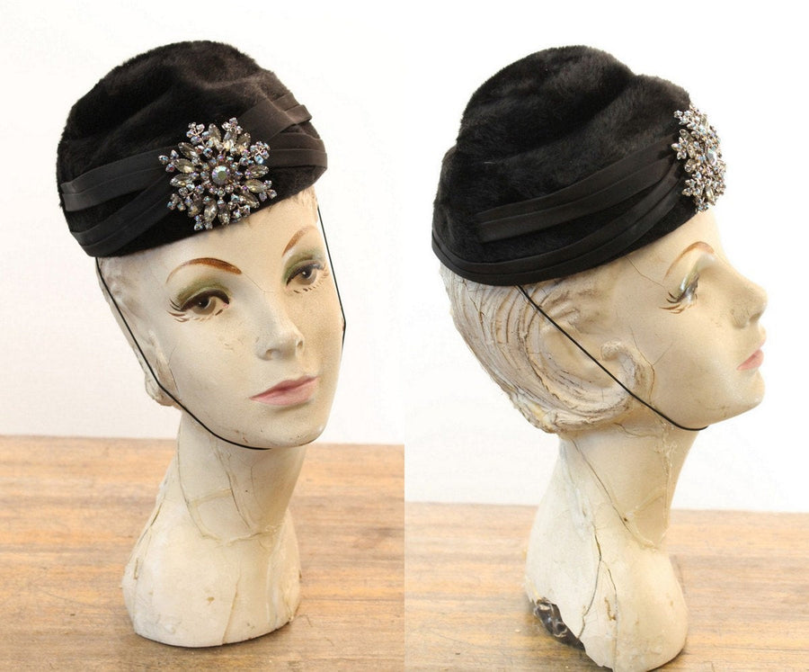 1960s turban hat | snowflake rhinestone pillbox | faux fur