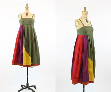 1970s COLORBLOCK trapeze sun dress small | new spring
