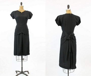 1940s scallop peplum dress xs | vintage rayon tiered skirt dress