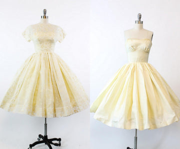 1950s flocked organza dress  xxs | vintage wedding dress
