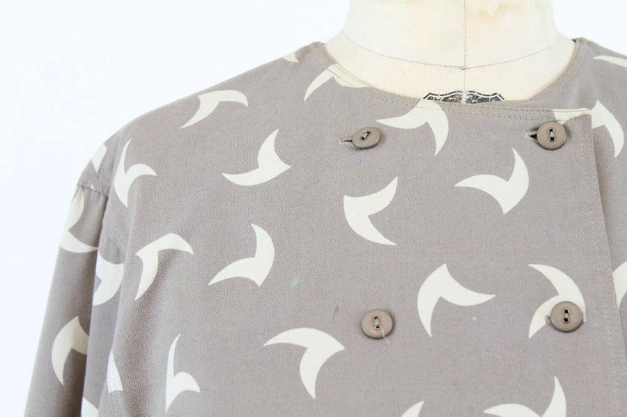 1980s Marimekko dress large | vintage cotton swallow print avant garde caftan
