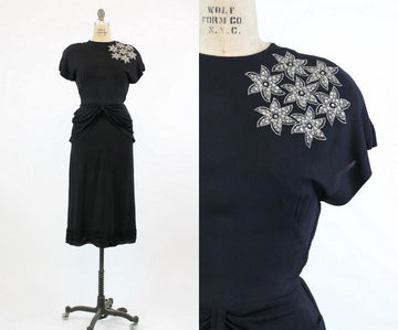 1940s star studded dress xs | vintage peplum rayon dress