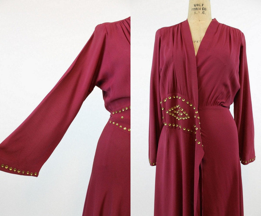 1940s Saybury studded dress xs small | vintage dressing gown