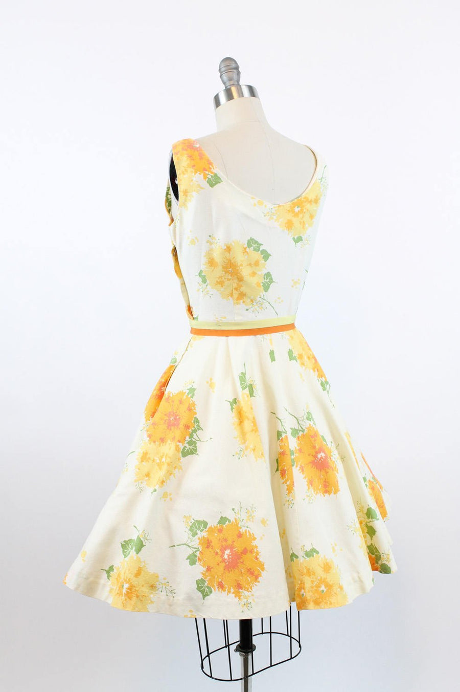 50s Dress Silk Jerry Gilden XS / 1950s Cotton Pique Sun Dress  /  Flowers and Ivy Dress