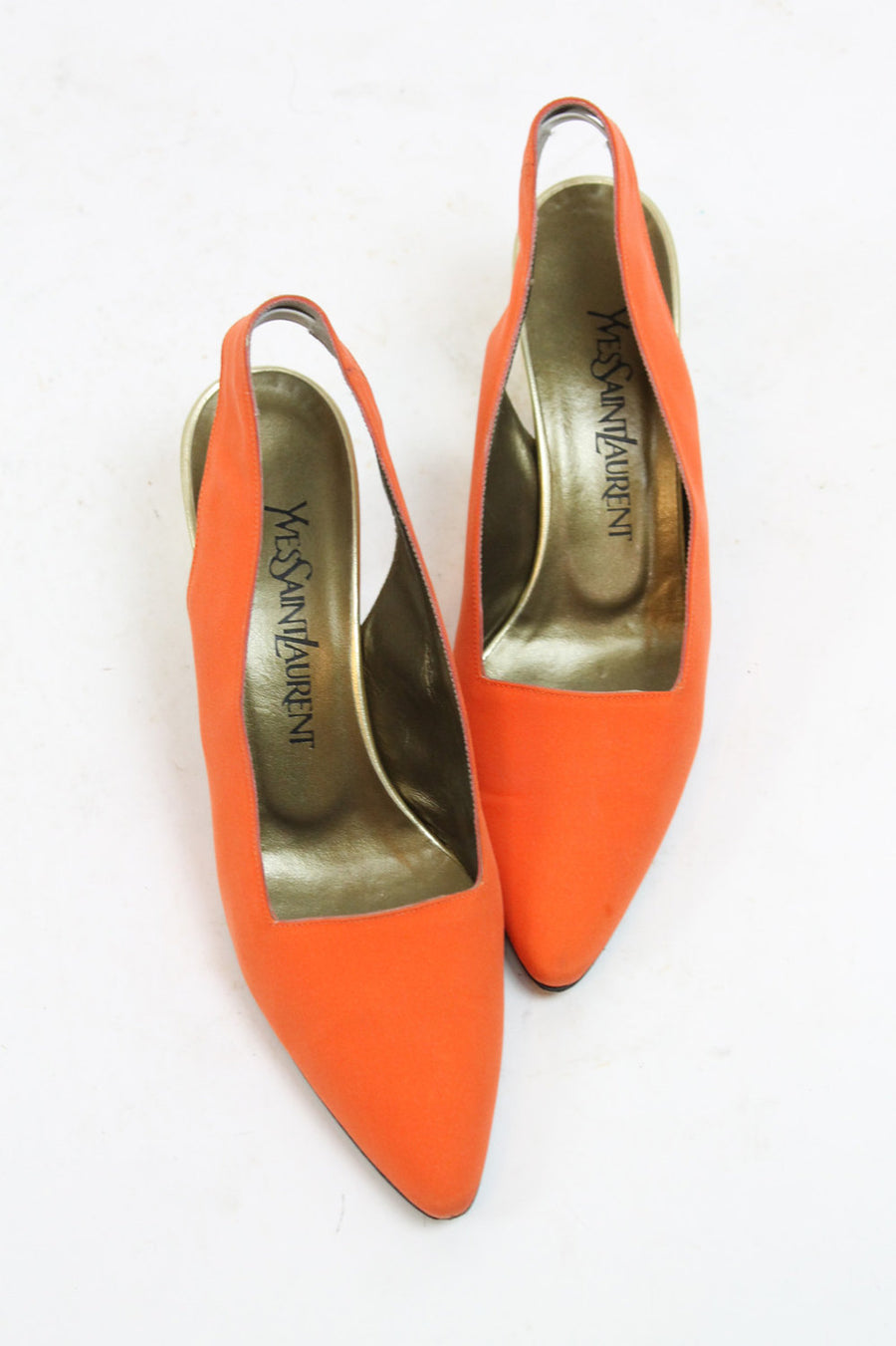 1980s YSL shoes pumps slingbacks size 6.5 us | vintage Yves St Laurent gold heels