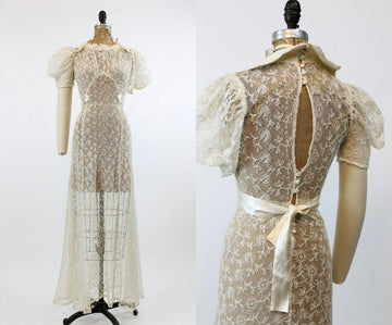 30s Wedding Dress Embroidered Mesh XS / 1930s Dress Sheer Organza / Mine Forever Bridal Gown