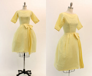 1960s Lorrie Deb lemon organza dress xxs | vintage bow dress | new in