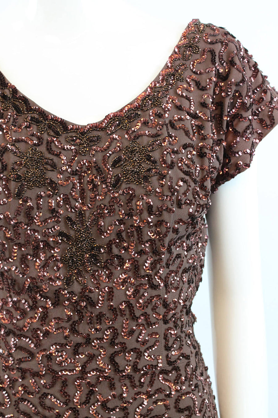 1940s sequin dress xs | vintage 40s rayon beaded apron dress| new in