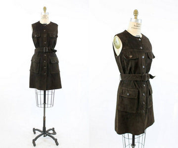 1970's suede dress medium | vintage button up tunic vest jacket