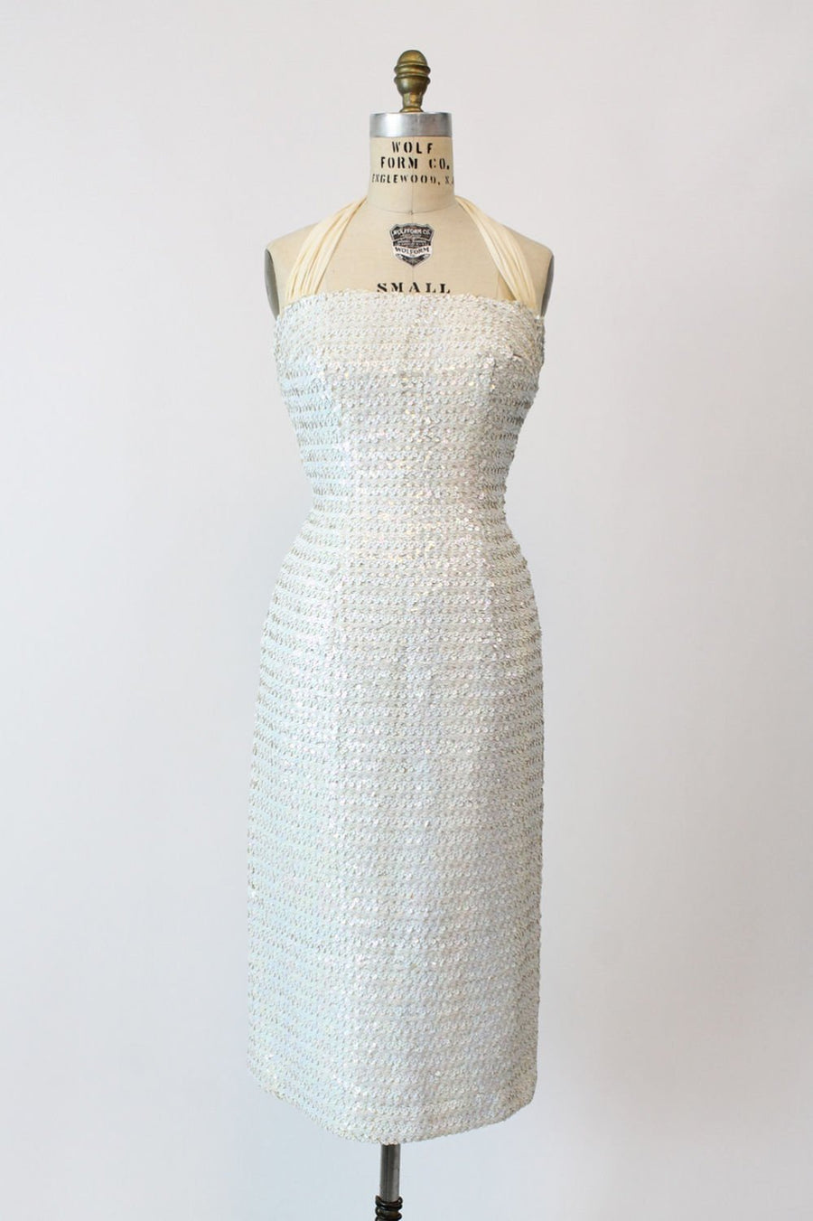 1950 sequin halter dress small | vintage chiffon Marilyn wiggle dress