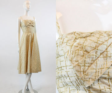 50s Dress Gold Stitch XS / 1950s Vintage Jeane Scott Party Dress / Golden Crosshatch Dress