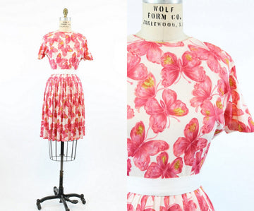 1950s butterfly print dress xs | vintage novelty print dress