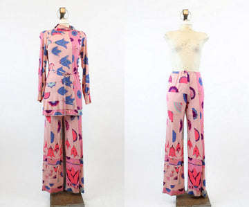1960s RARE Bessi tunic and pants xs | vintage silk pucci two piece outfit