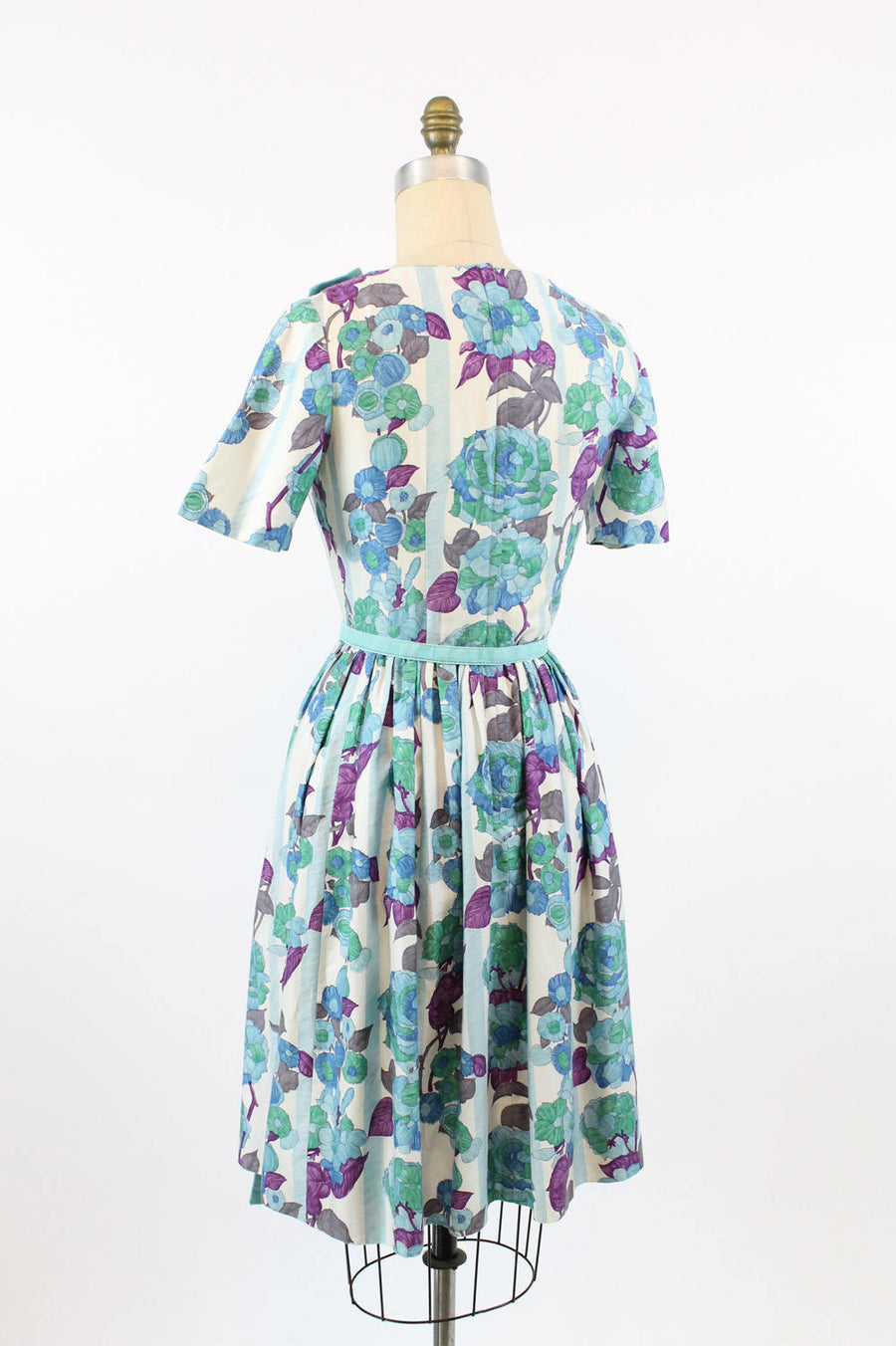 1950s floral cotton dress xs | vintage roses and pansies floral apron dress