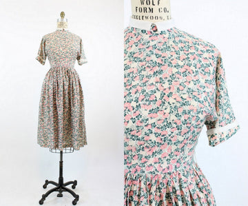 1940s rose print silk dress xs | vintage dress | new in