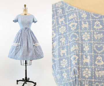 1950s Teena Paige novelty folk print dress xs | vintage cotton full skirt | new in