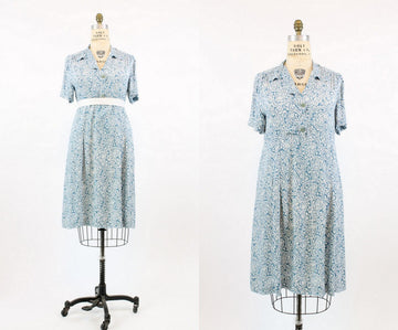 1940s cold rayon paisley dress large | vintage dress | new in