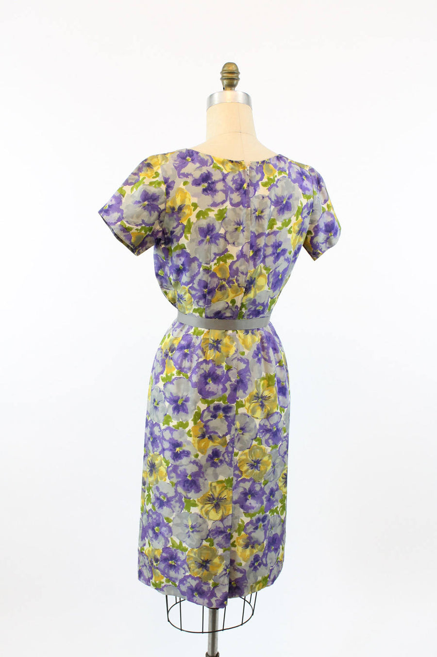 1950s pansy  floral silk dress xs | vintage wiggle dress | new in