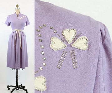 1940s linen dress | vintage applique hearts and rhinestone dress | small