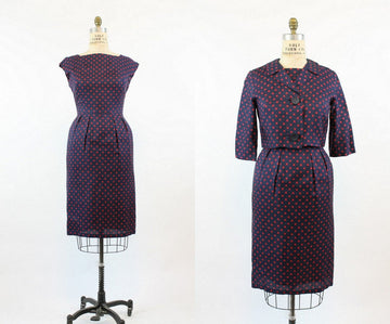 1950's polka dot silk dress and jacket medium | vintage two piece set
