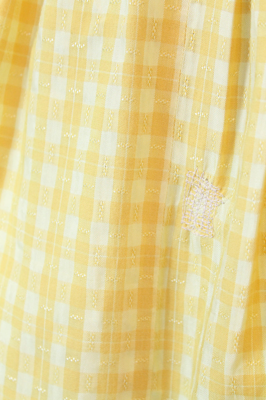 1950s yellow gingham dress xs | vintage shirtwaist cotton dress